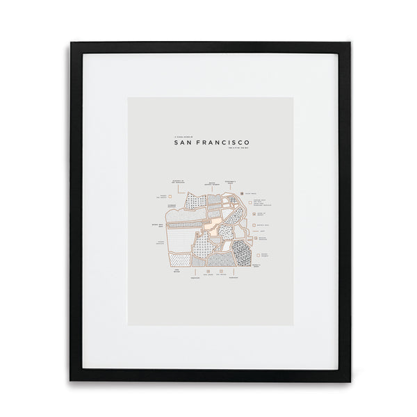 San Francisco Map Print - Black Frame With Mat