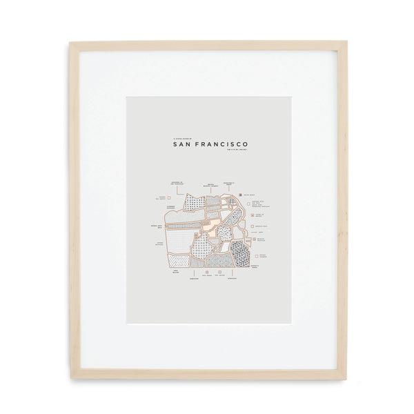 San Francisco Map Print - Wood Frame With Mat
