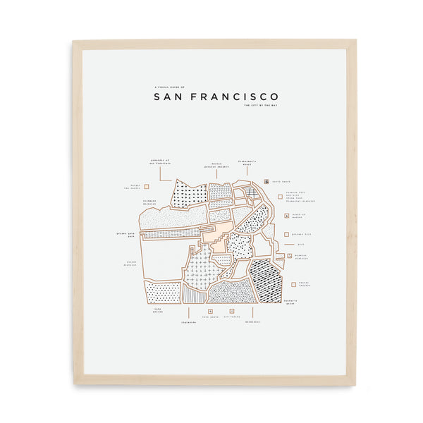 San Francisco Map Print - Wood Frame