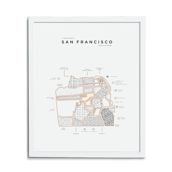 San Francisco Map Print - White Frame