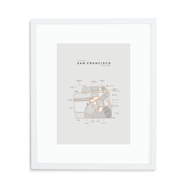 San Francisco Map Print - White Frame With Mat