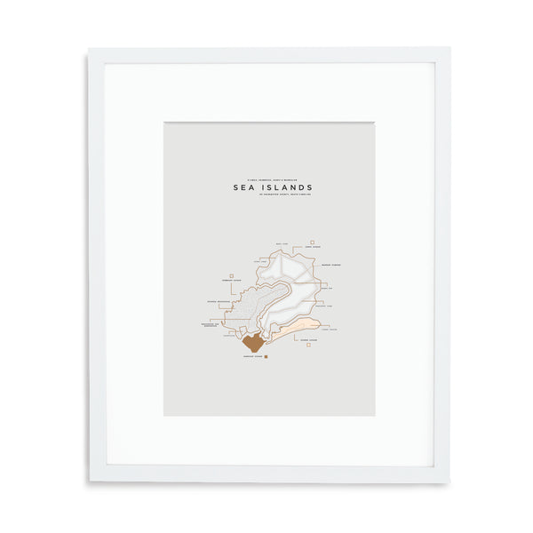 Sea Islands Map Print - White Frame With Mat