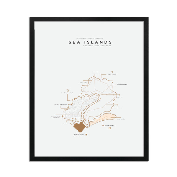 Sea Islands Map Print - Black Frame