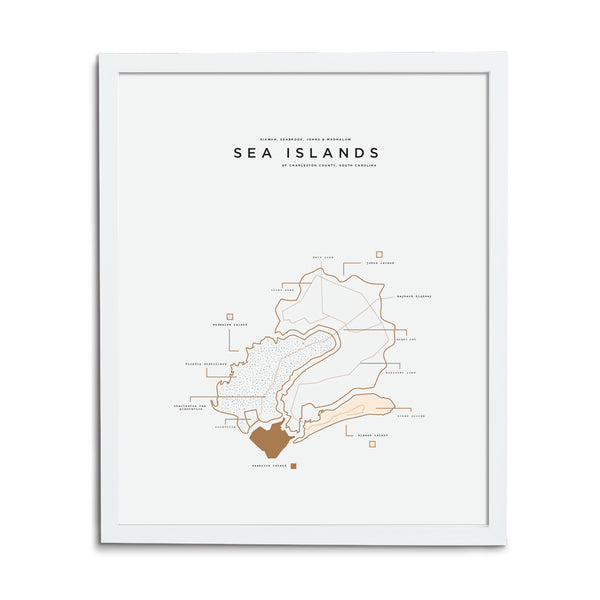 Sea Islands Map Print - White Frame