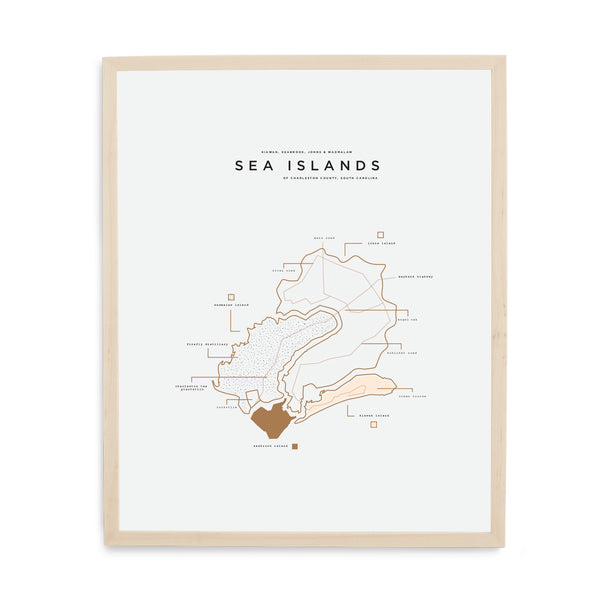 Sea Islands Map Print - Wood Frame