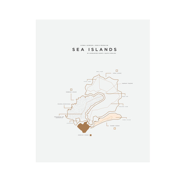 Sea Islands Area Letterpress Print