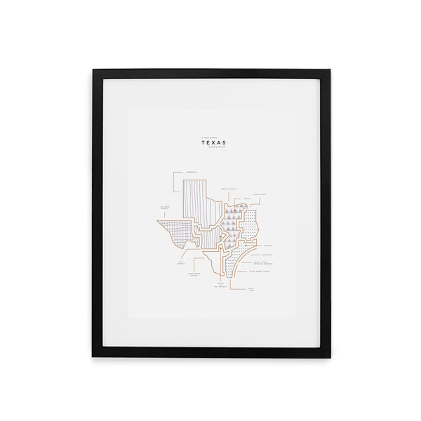 Texas State Print - Black Frame With Mat