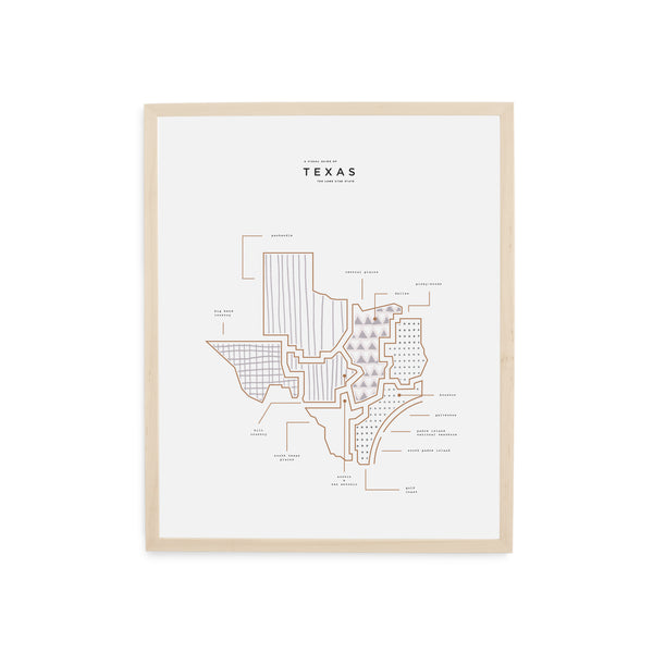 Texas State Print - Wood Frame WIth Mat