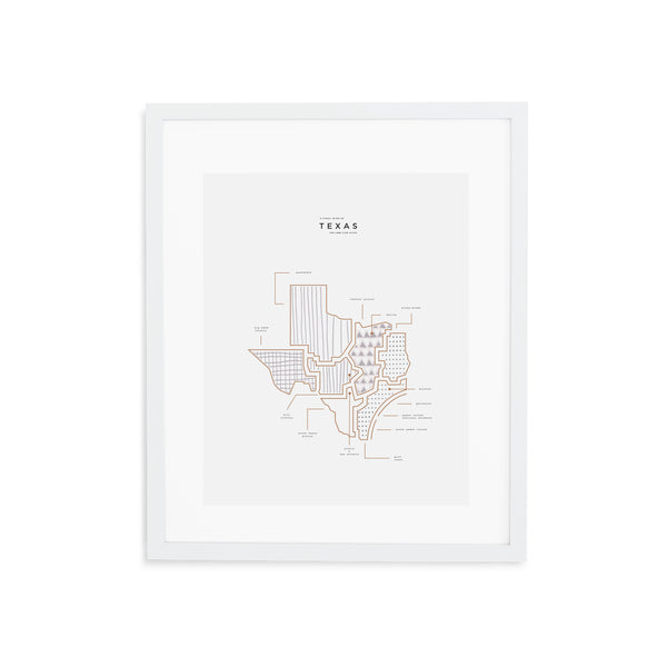Texas State Print - White Frame With Mat