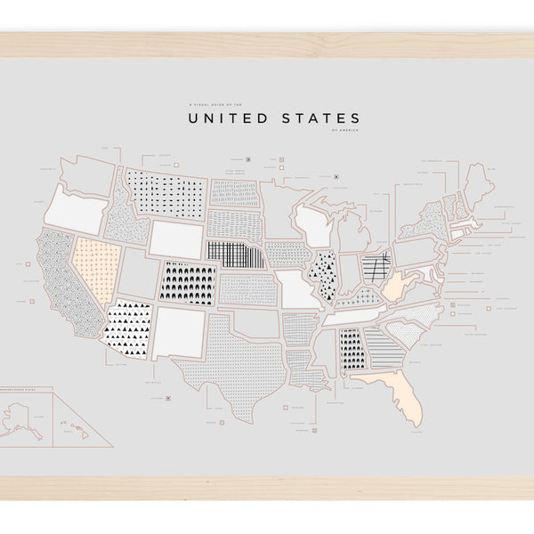 United States Letterpress Print - Wood Frame With Mat