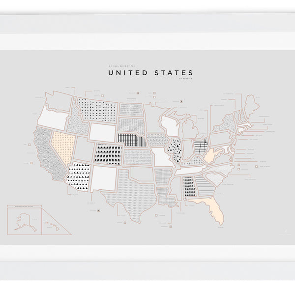 United States Letterpress Print - White Frame With Mat