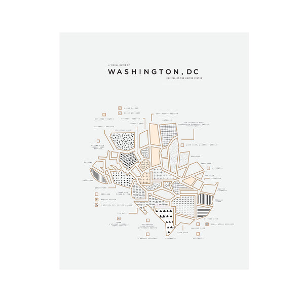 Washington DC City Letterpress Map Print