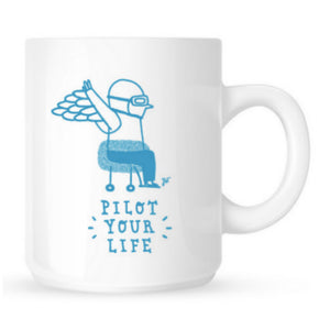 "Mug Aviation Sans Frontières ""Pilot your life"" collection unique par l'illustratrice Joanna WIEJAK"