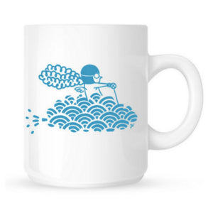 "Mug Aviation Sans Frontières ""Nuages"" collection unique par l'illustratrice Joanna WIEJAK"