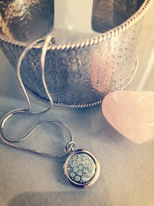 Silver necklace | Turquoise crystal pendant | Ben's Beach