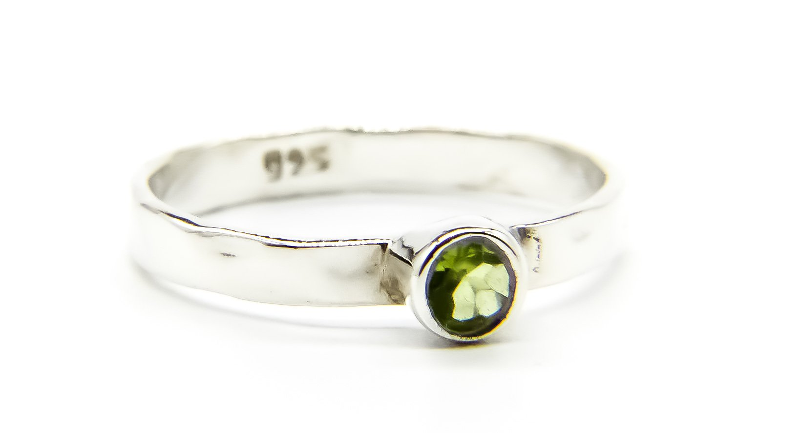 925 Silver Stacking Ring with Peridot Stone - Ben's Beach Jewellery