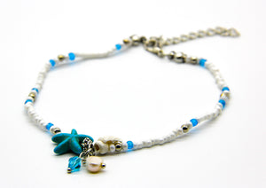 Beaded Beach Anklet | Starfish and Shell | Beach Jewellery | Ben's Beach