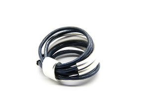 Leather Ring | Blue and Silver | Multistrand | Contemporary Design | Ben's Beach