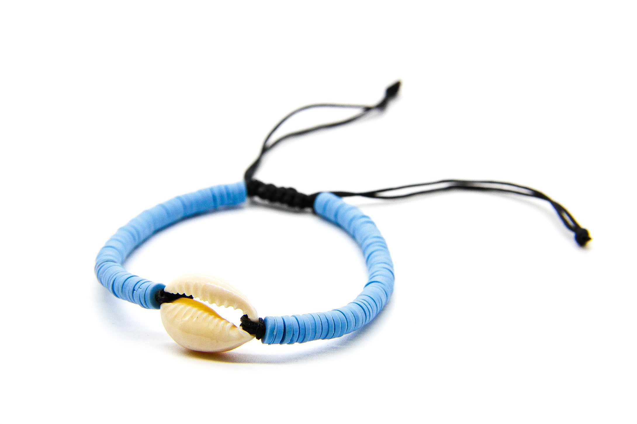 Braided Sea Bracelet with Cowrie Shell - Block Colours