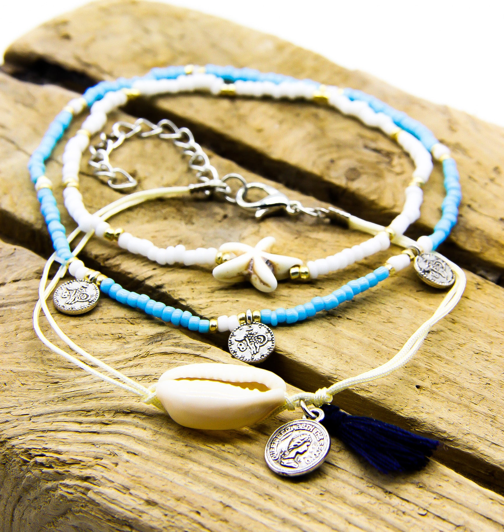 Summer Anklets | Blue and White Beads | Cowrie Shell | Coins | Starfish | Ben's Beach