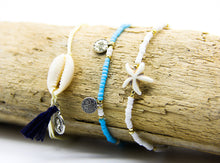 Load image into Gallery viewer, Holiday Anklets | Cowrie Shell Coin and Tassel | Blue and White Beaded Anklets | Starfish Anklet | Ben's Beach