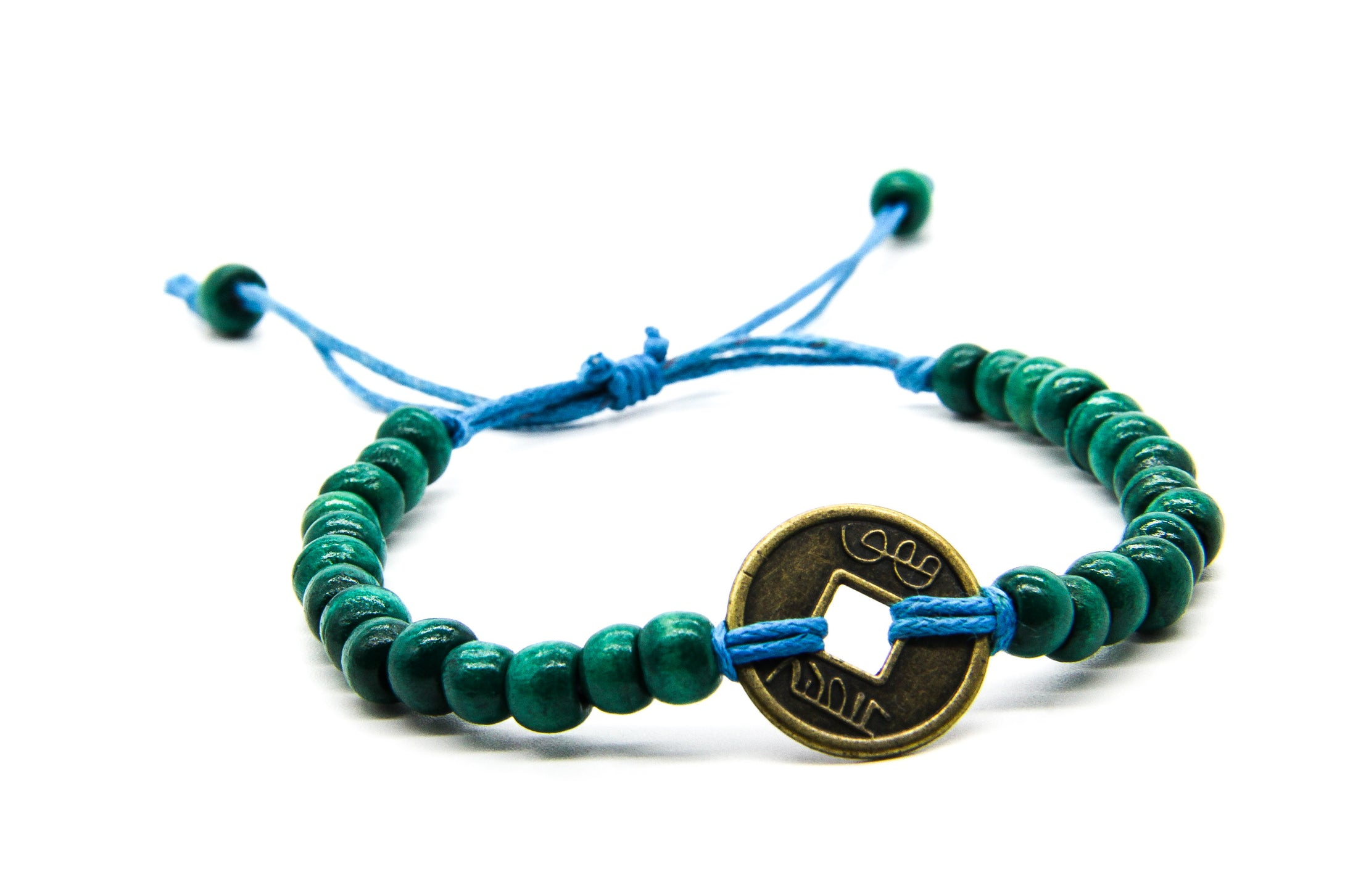 Turquoise Wooden Bead Bracelets | Coin Pendant | Fair Trade Beach Jewellery | Ben's Beach London