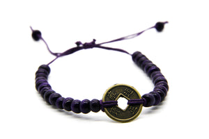 Navy Blue Wooden Bead Bracelet | Coin Pendant | Fair Trade Jewellery | Ben's Beach UK