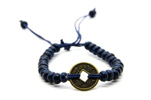 Blue Beaded Bracelet | Coin Pendant | Beach Jewellery | Ben's Beach UK