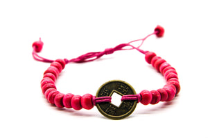 Pink Beaded Beach Bracelet | Fair Trade Jewellery | Coin Pendant | Ben's Beach UK
