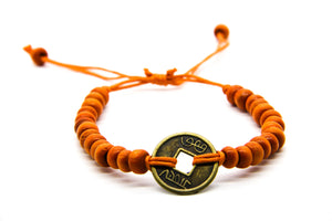 Orange Wooden Beaded Beach Bracelet | Ben's Beach UK | Sustainable Eco-Friendly Jewellery | Free UK Delivery | Ben's Beach UK