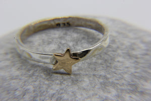 Beach-themed Jewellery | 925 Sterling Silver stacking ring with copper star | Ben's Beach Jewellery UK