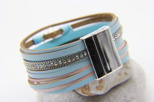 Silver clasp on a blue leather multi-strand beach bracelet - Ben's Beach
