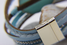 Load image into Gallery viewer, Trapani - beach style bracelet with leather and turquoise quartz