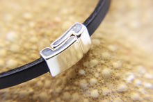 Load image into Gallery viewer, Navy leather bracelet with silver clasp - www.bensbeach.com