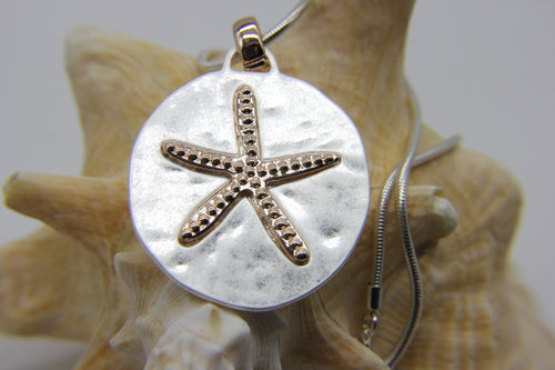 Starfish Beach Necklace | Beach Jewellery | Silver disc pendant with starfish | Ben's Beach