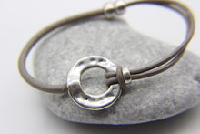 Load image into Gallery viewer, Beach bracelet | Leather with silver hammered disc pendant | Ben's Beach