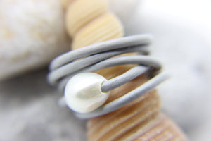 Beach style ring of multiple grey strands with single pearl - Ben's Beach