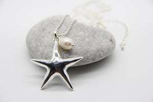 Beach Necklace | silver starfish pendant and single pearl | Ben's Beach