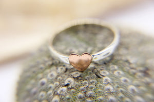 925 sterling silver stacking ring with copper heart | Ben's Beach Jewellery