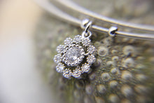 Load image into Gallery viewer, Silver Bangle | CZ crystal flower pendant | Ben's Beach