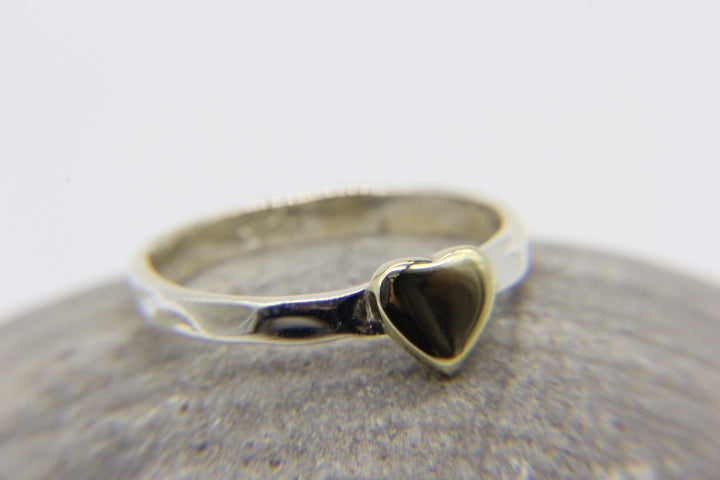 925 hammered silver stacking ring with brass heart