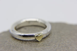 925 sterling silver ring with brass heart | Ben's Beach Jewellery UK