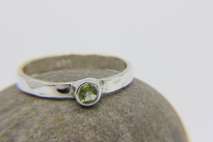 Hammered sterling silver stacking ring with peridot stone - Ben's Beach Jewellery