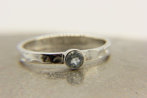 Silver stacking ring | pale blue topaz stone | Ben's Beach Jewellery UK