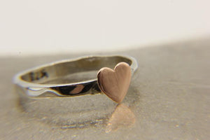 Sterling silver stacking ring with copper heart | Ben's Beach