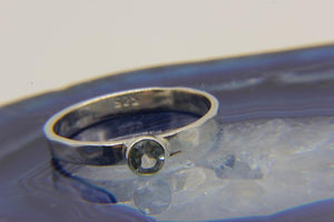 925 Silver stacking ring | Pale blue topaz stone | Ben's Beach Jewellery UK