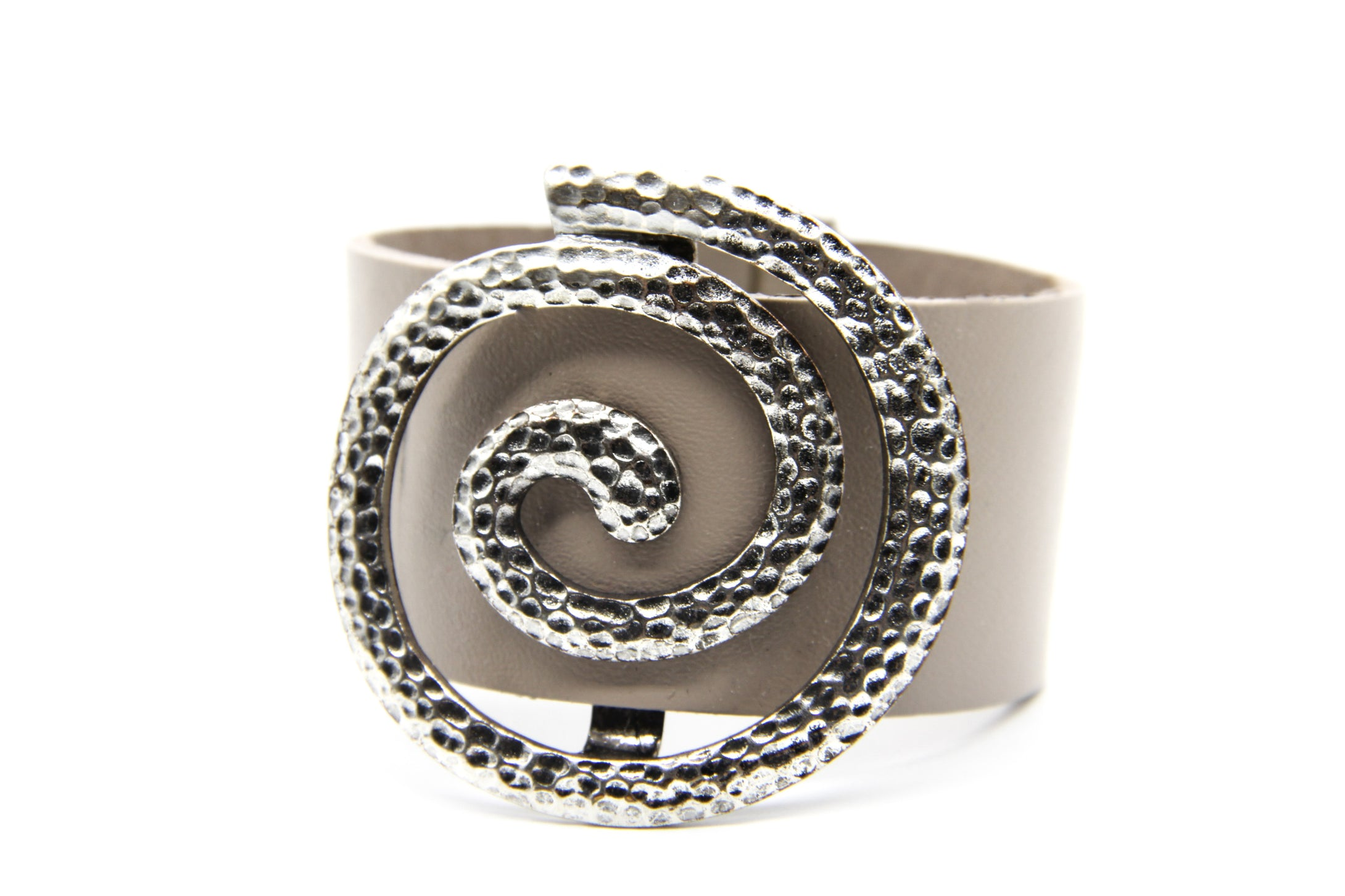Leather Bracelet | Large Hammered Silver Swirl | Ben's Beach
