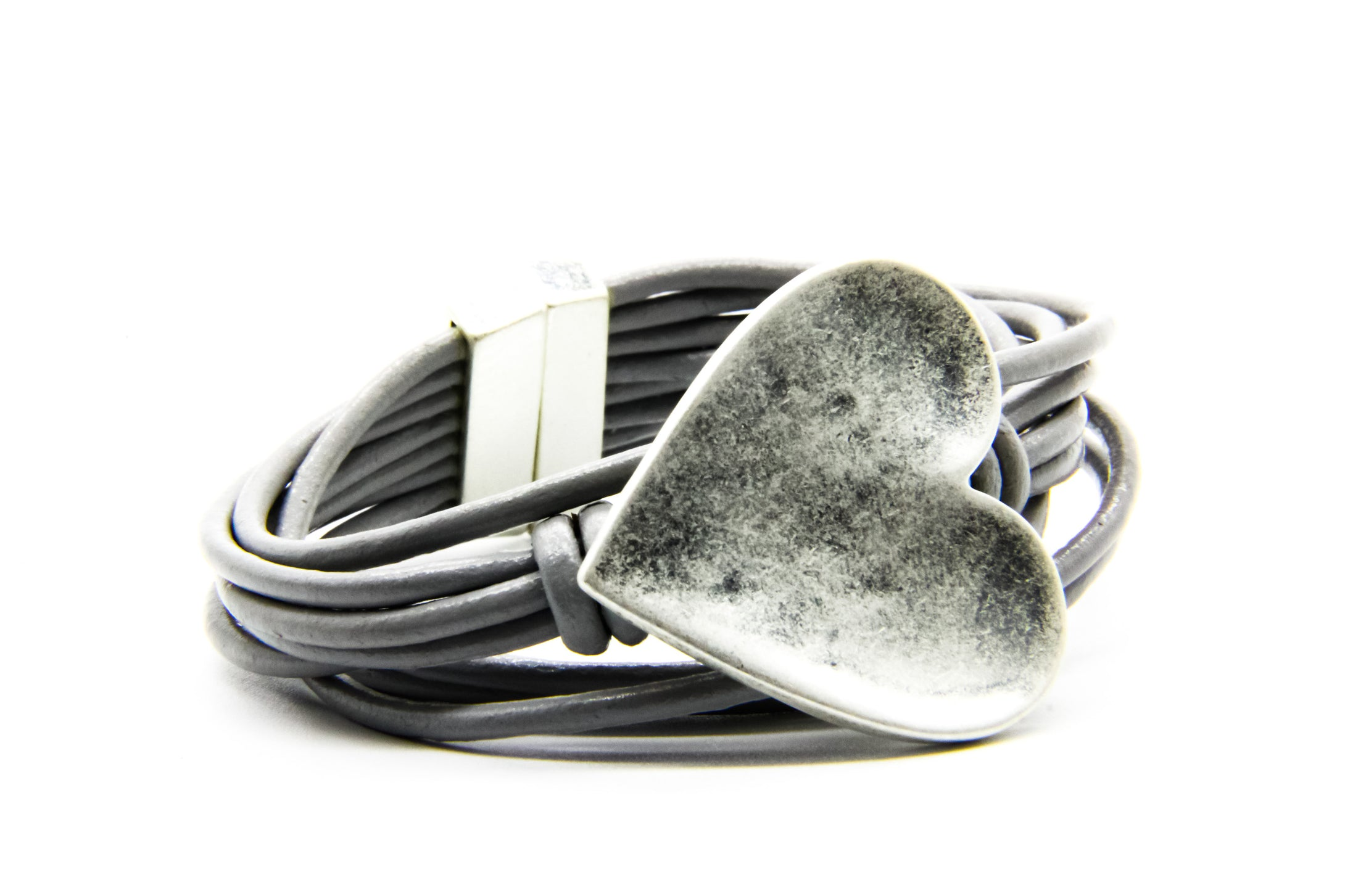 Leather Wrap Bracelet | Chunky Silver Heart | Ben's Beach