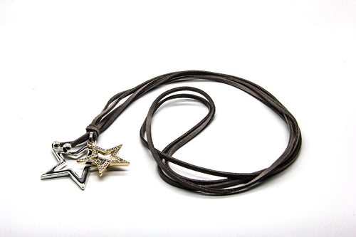 Leather Necklace | Double Star Pendant | Ben's Beach
