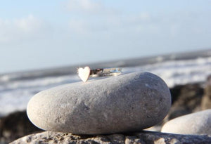 925 Sterling Silver Stacking Ring with Copper Heart | Ben's Beach. London